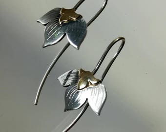 Flora, earrings in 18kt gold and sterling silver