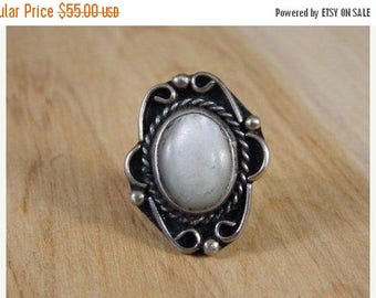 ETSYCIJ Sterling Silver and Mother of Pearl Ring / Antique MOP Ring / Old Pawn Silver Ring Size 7