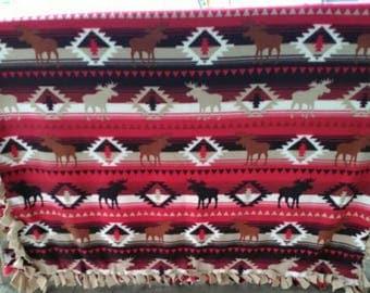 Southwest Moose Tied Fleece Blanket