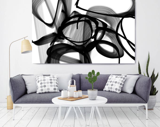 "Abstract Expressionism in Black And White 22. Abstract Black and White Painting Canvas Print up to 72"" by Irena Orlov"