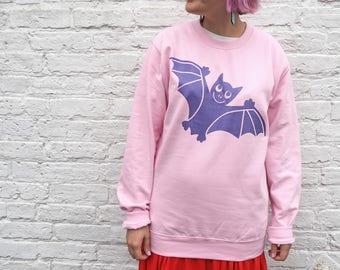 Halloween Sweater, Halloween Jumper, Bat Sweater, Pink Pastel Halloween Outfit, Spooky Bat Sweatshirt, Cute Halloween Costume, Funny Sweater