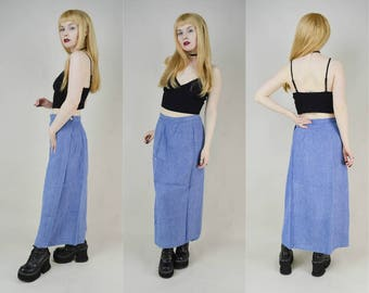 90s Grunge Blue Denim Look Chambray Wrap Maxi Skirt M