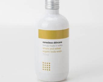 Natural Body Wash - Organic Body Wash - Liquid Soap - Amyris and Vetiver - Vegan - 250ml - Made with Castile Soap - Gift for Her - Soap