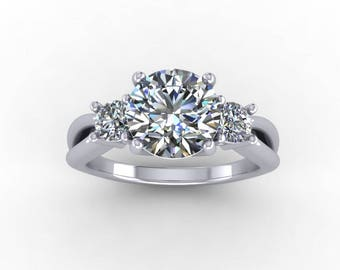 7.5mm round moissanite engagement ring, style 204WM