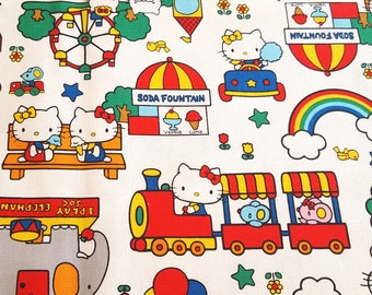 Sanrio licensed Hello Kitty canvas fabric, fairy ground theme, children fabric, quilting fabric, sewing fabric, birthday gift