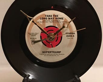 """Recycled SUPERTRAMP 7"""" Record / Take The Long Way Home / Record Clock"""