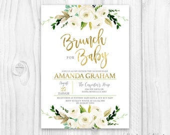 Floral Baby Shower Invitation, Brunch For Baby Invitation, baby girl invites, boho baby shower, white and gold floral invitation, neutral