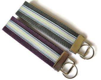 2 x Cotton Webbing Key Fobs - Wristlet Key Ring  - Webbing Key Carrier - Key Carrier - Webbing Wristlet Key Ring