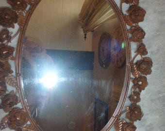 French Toleware Mirror, Shabby Chic, French Vintage. Circa 1980's
