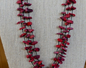 20 Inch Red Howlite Triple Strand Irregular Bead Necklace with Earrings