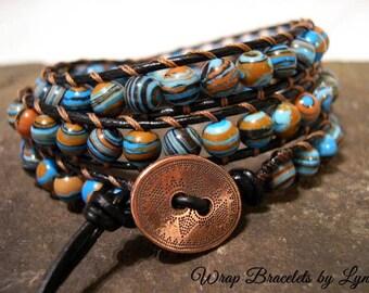 Boho Bracelet, Leather Wrap, Gypsy Wrap Bracelet, Beaded Wrap Bracelet  - 1003