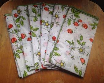nos vintage cloth strawberry napkins set of 6