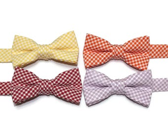 Boys Check Bow Ties~Boys Seersucker Bow Tie~Boys Plaid Bow Ties~Cotton Bow Tie~Church Tie~Plaid Bow Tie~Wedding~Ring Bearer~Gift