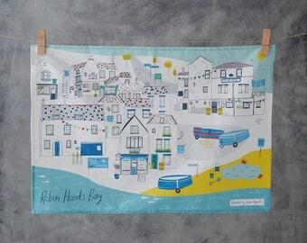 Robin Hood's Bay Tea Towel - North Yorkshire art - village illustration - Coastal art - Illustrated tea towel