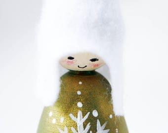 Gold Metallic Snowflake Cornish Pixie Elf Wooden Decoration