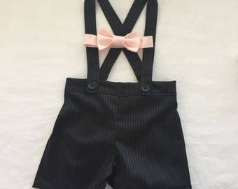 Baby boy ring bearer outfit  suspender shorts and bow tie