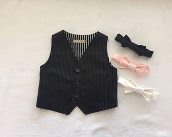Ring bearer outfit black pinstripe baby toddler boy vest waistcoat