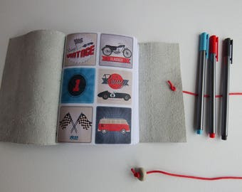 Vintage car motorbike Journal, VW Campervan, Leather Wrap Journal, Blank Book, Travel Journal, Leather Notebook, Gift for him