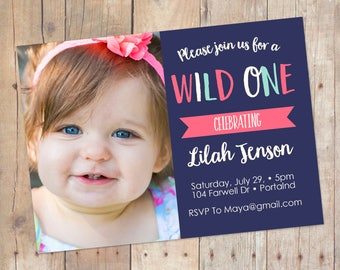 Wild One Baby Girl 1st First Birthday Invitation Printable or Printed Cards
