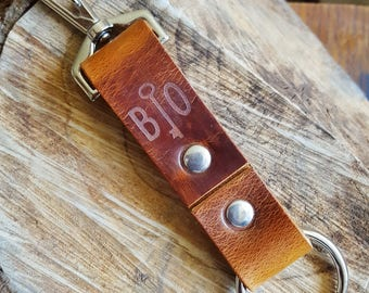 Custom Key Fob, leather key ring personalised boyfriend gift initialled leather fob large key fob for belts lanyard key fob rugged leather