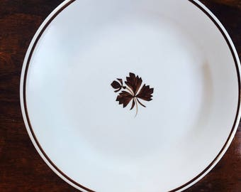 Antique White Ironstone Plate, Copper Lustre Tea Leaf, Alfred Meakin ca. 1890