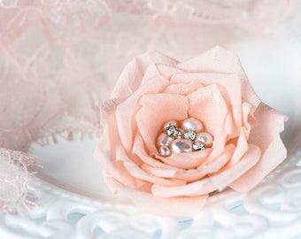718 Peach pearl hair pins, Pink hair accessory, Hair flower barrettes, Rhinestones hair pins, Wedding hair barrette, Bridesmaid hair flowers