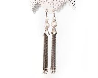 512 Extra long earrings, Chain silver long earrings, Pearls silver earrings, Tassel Earrings, Pearls tassel earrings, Chain tassel earrings.