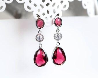 656 Red silver earrings, Wine teardrop earrings, Red crystal dangle earrings, Teardrop jewelry earrings, CZ drop crystals earrings, jewelry.