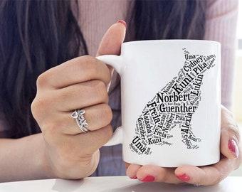 German Shepherd Custom Dog Name Mug Personalized Dog Lover Gift Idea for Dog Mom Dad Mug Shepherd Silhouette Pet Memorial Pet Loss Gifts