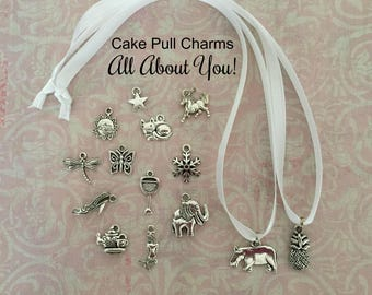 Cake Pull Charms, Wedding Cake Pulls, All About YOU Set Cake Charms/Pulls!  14 Cake Pulls!