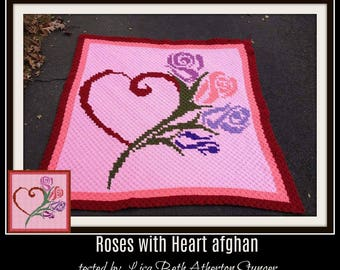 Roses with Heart Afghan, Roses with Heart Crochet Pattern, Roses with Heart C2C Graph, Roses with Heart Corner to Corner