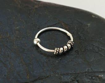 Nose Ring Piercing Sterling silver bali Hoop Cartilage Earring Helix Earring Tragus Hoop Piercing