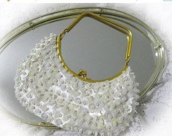 30% Off Clearance Sale Vintage 60s White Bead Bag / Clutch Bridal Bag,Satin, Aurora Borealis Sequins Purse Hong Kong