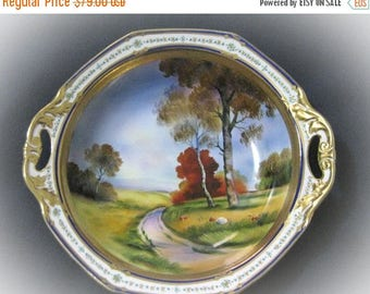 30% Off Clearance Sale Collectible Vintage - Antique Large Noritake Fall Scene Hand Painted Serving Bowl-Gold Trim