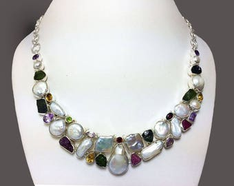 925Sterling Silver Necklace studded Fresh Water Pearls, Watermelon Tourmaline, Amethyst, Citrine, Peridot, Garnet Gemstone Necklace Jewelery