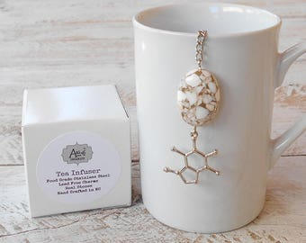 Tea Infuser, Caffeine Molecule, Lead Free Charm, Taupe Mosaic Stone Bead, Science  Gift, Gift for Him, Gift for Her, Gift Boxed, Lab Tech