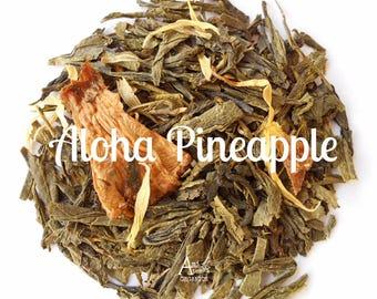 Pineapple Green Tea, Organic, Loose Leaf, Tropical Tea, ALOHA PINEAPPLE, Tea Lover, Healthy, Hot Tea, Under 5 Dollars, Vegan, Non Gmo
