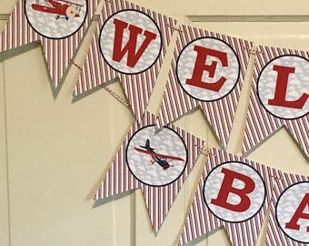 "PREPPY AIRPLANE Baby Shower ""Welcome Baby"" or Happy Birthday Party Banner - Party Packs Available"
