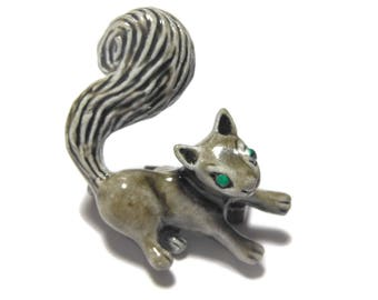 Gerry's squirrel brooch, grey brown squirrel, green eyes, enamel finish, small adorable figural, lapel pin, tie tack tac, hat pin