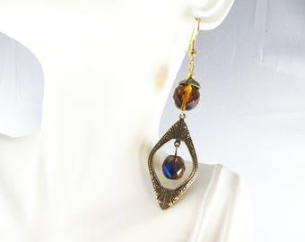 Amber/navy chandelier earrings