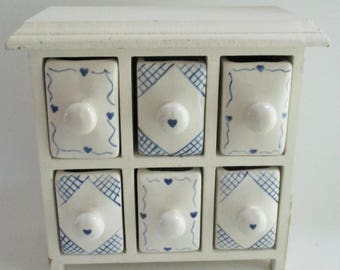Vintage Spice Rack Shelf Blue and Cream Ironstone Drawers Wood Shelf Trinket Treasure Box