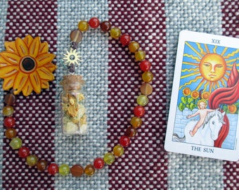 The Sun Tarot Prayer Beads with Charm Bottle - victory, illumination, revelation, growth