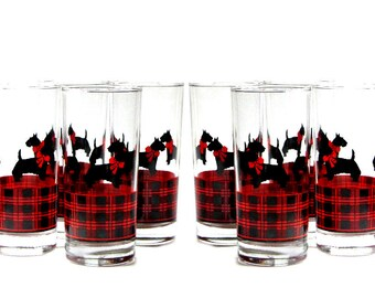 Fitz Scottie Dog Red and Black Glassware Tartan Plaid Tumblers Scotch Terrier Anchor Hocking Eight Glasses Iced Tea Highballs New In Boxes