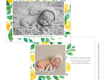 INSTANT DOWNLOAD - PSD 5x7 Birth Announcement Template -  E1492