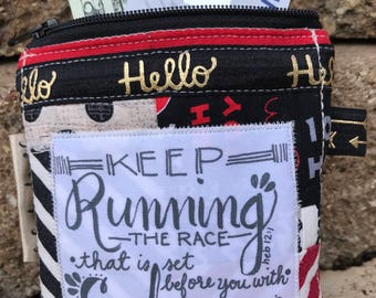 coin purse- small makeup bag-change purse- credit card wallet bag-black white red-fabric scripture bag-mickey mouse race-endurance