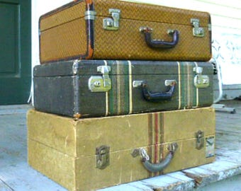 Set of Three Suitcases  Brown Tweed and Leather Luggage  Cardboard With Airline Stickers  Black With Stripes