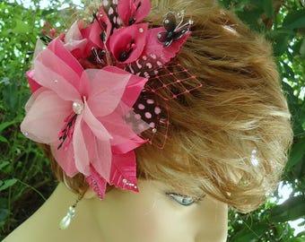 Wedding Hair Lily, Fuchsia Headpiece, Pink Black Flower, REX17385