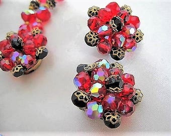 Red Black Necklace Earrings - Crystal Glass 2 strand Bib - Statement Necklace - Vintage Holiday Set