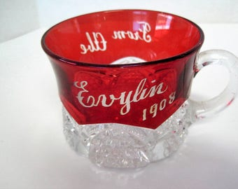 Ruby Flash Glass - Punch Cup -  Evylin 1908 from Abe -  Souvenir  - Holiday decor