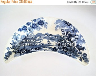 Royal Staffordshire Tonquin Bone Dish, Clarice Cliff, Blue Transferware, Made in  England